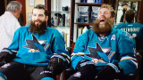 Brent Burns et Joe Thornton chez le barbier